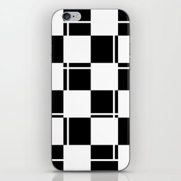 Black and white squares, crosses and lines iPhone Skin