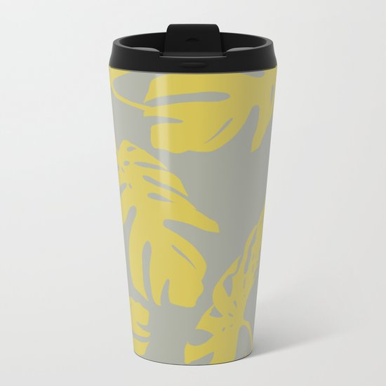 Simply Mod Yellow Palm Leaves on Retro Gray Metal Travel Mug