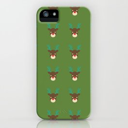 Cute deer pattern Christmas decorations retro colors green background iPhone Case