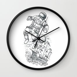 Astronaut Tethered to Caravel Tattoo Wall Clock