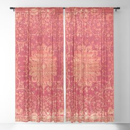N69 - Oriental Heritage Vintage Orange Traditional Moroccan Farmhouse Style Artwork Sheer Curtain