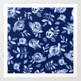 Hand painted navy blue white watercolor floral roses pattern Art Print