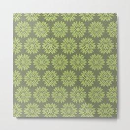 Army Green Flowers Metal Print
