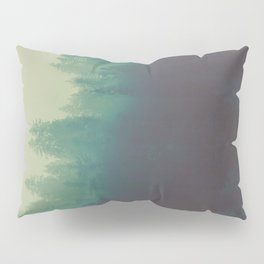 Misty Blue Pine Forest Tall Parallax Trees Silhouette Ombre Forest Foggy Landscape Pillow Sham