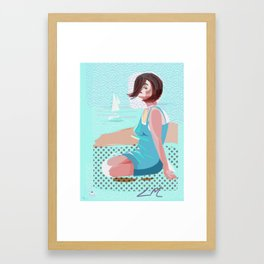 Izzy goes to the beach Framed Art Print