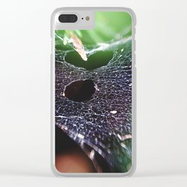 Holes In The Hammock. Spider Web, Nature Photography Clear iPhone Case