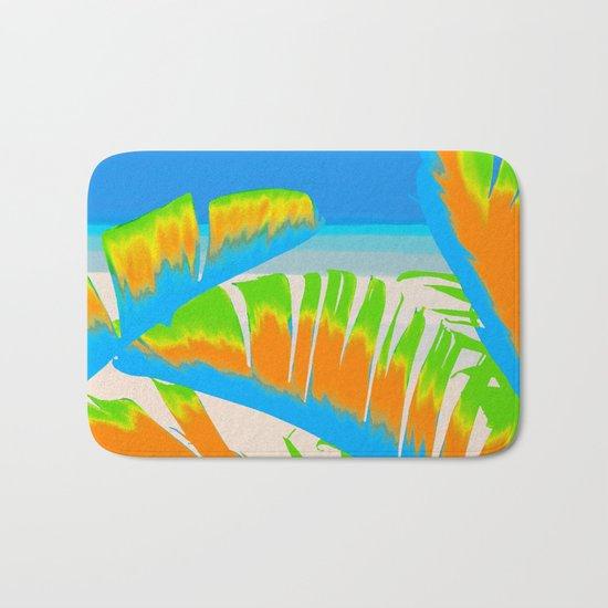 Tropical Colored Banana Leaves Design Bath Mat