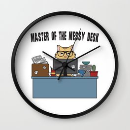 Master Of The Messy Desk Nerdy Cat Gift Wall Clock