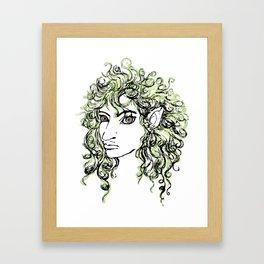 Female elf profile 1 Framed Art Print