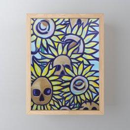 S is for Sunflowers and Skulls Framed Mini Art Print