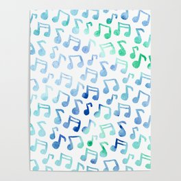 Playin' the Blues Watercolor Music Notes Pattern Poster