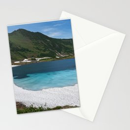 Stunning summer mountain landscape: Blue Lake, green forest on hillsides, blue sky on sunny Stationery Cards