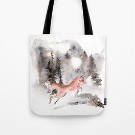 Fox Gamboling In The Mountain Mist Tote Bag