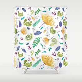 Breezy Tropical Print in bright fresh colors, floral design, botanical Shower Curtain