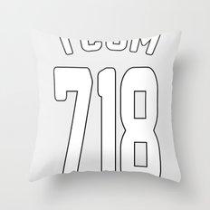TCOM 718 AREA CODE JERSEY Throw Pillow