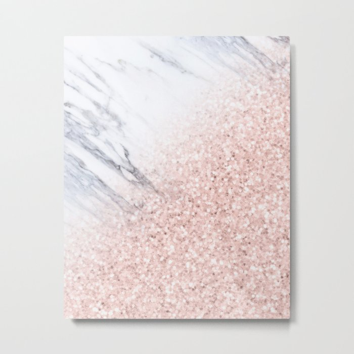 She Sparkles Rose Gold Pink Marble Luxe Geometric Metal Print