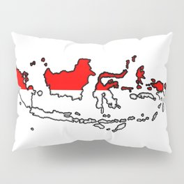 Indonesia Map with Indonesian Flag Pillow Sham