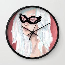 Girl in Mask Wall Clock