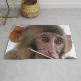 Watercolor Monkey, Rhesus Monkey 01, Silver River, Florida, Bugs? Really? Rug