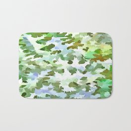 Foliage Abstract Pop Art In White Green and Powder Blue Bath Mat