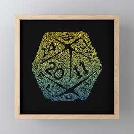 d20 dice pattern - yellow and blue gradient over black - icosahedron Framed Mini Art Print