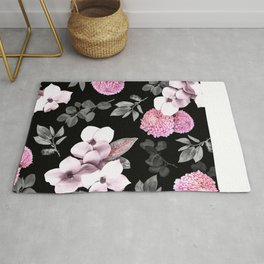 Night bloom - pink blush Rug