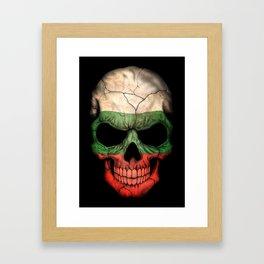 Dark Skull with Flag of Bulgaria Framed Art Print