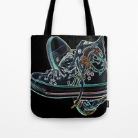sneakers Tote Bags featuring My Sneakers by Dawn East Sider