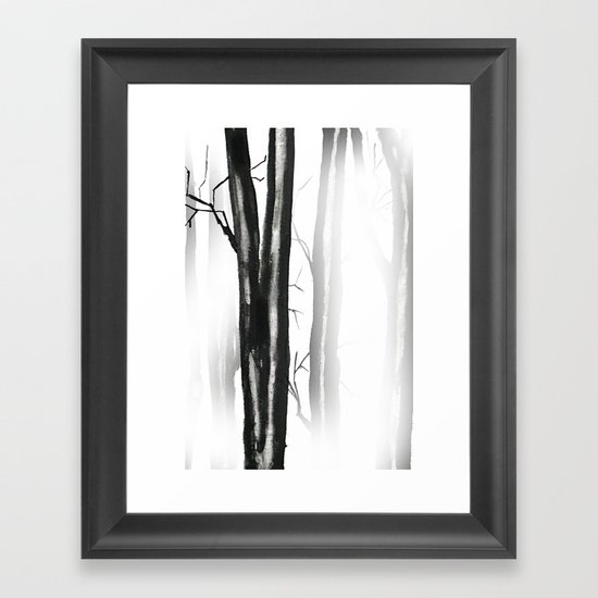 wood, snow and fog Framed Art Print