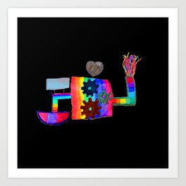 Colored fireworks machinery | Kids Painting by Elisavet Art Print