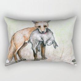 Gotcha! Fox vs Rabbit Rectangular Pillow