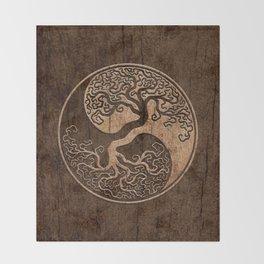 Rough Wood Grain Effect Tree of Life Yin Yang Throw Blanket