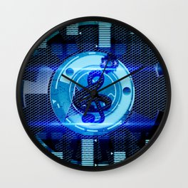 Clef on blue technical design Wall Clock