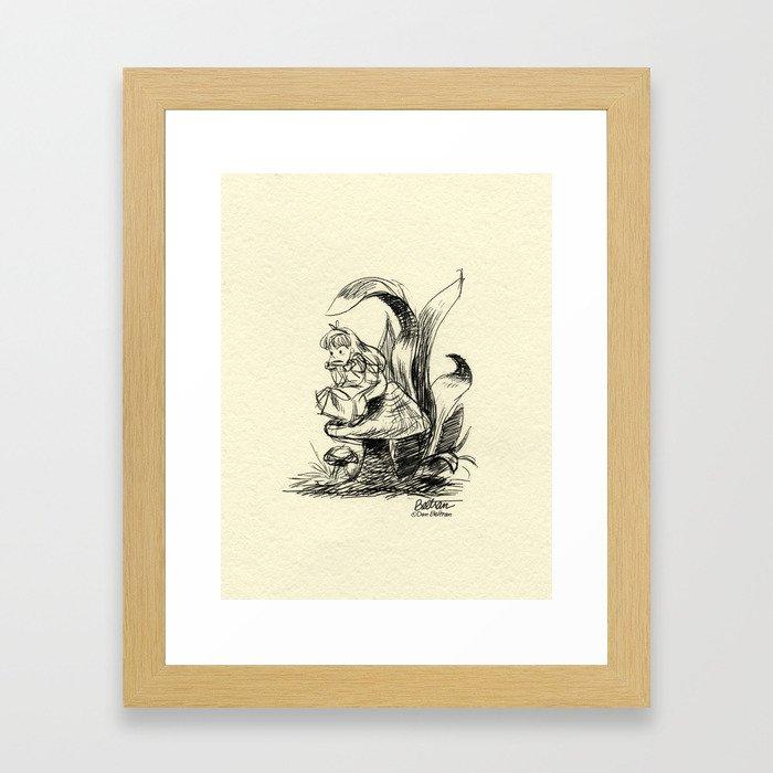 Pouty Alice  - Ink Sketch Framed Art Print