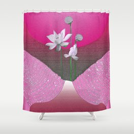 Vintage Abstract Floral Airbrush Pink Glow Relaxing Landscape Shower Curtain