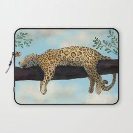 Sleepy Jaguar Hanging on a Branch Laptop Sleeve