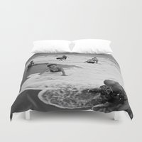 vietnam Duvet Covers featuring Bathing Woman in Vietnam - analog  by CAPTAINSILVA