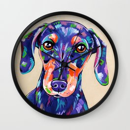 Peanut - Daschund Sausage Dog Art Wall Clock