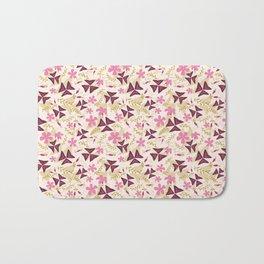 Purple Shamrock Floral Layered Pattern / Cream Bath Mat