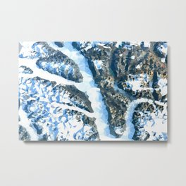 Arctic Landscape From Above Low Poly Geometric Triangles Metal Print