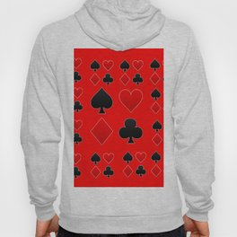 RED & BLACK PLAYING CARD ART ON RED Hoody