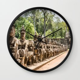 Angkor Thom South Gate Devas, Siem Reap, Cambodia Wall Clock
