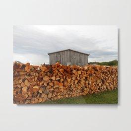 Firewood and Barn Metal Print