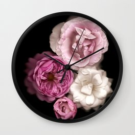 Purple, Pink, and White Roses Wall Clock
