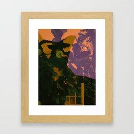 CATBLACKYELLOWORANGETREE Framed Art Print