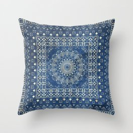 Old Bookshop Magic Mandala in Blue Throw Pillow