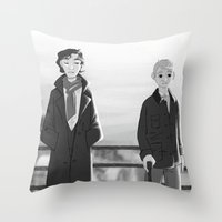 johnlock Throw Pillows featuring sherlock paperman by Marie Mikolay