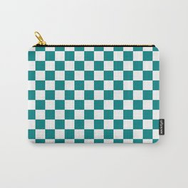 White and Teal Green Checkerboard Carry-All Pouch