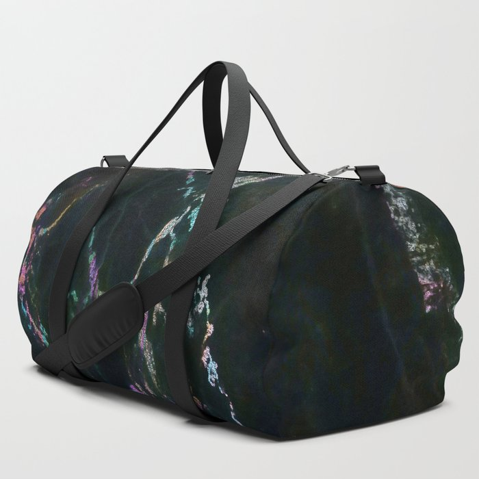 Black Marble Colorful Accent Duffle Bag
