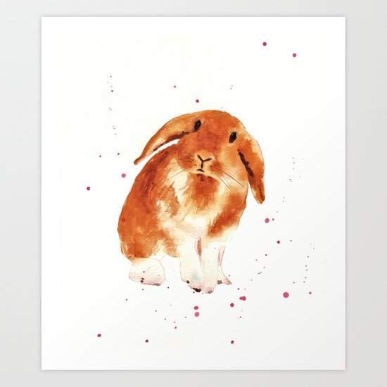 bunny, rabbit painting, lop eared bunny, fluffy bunnykins, bunny lover gift Art Print
